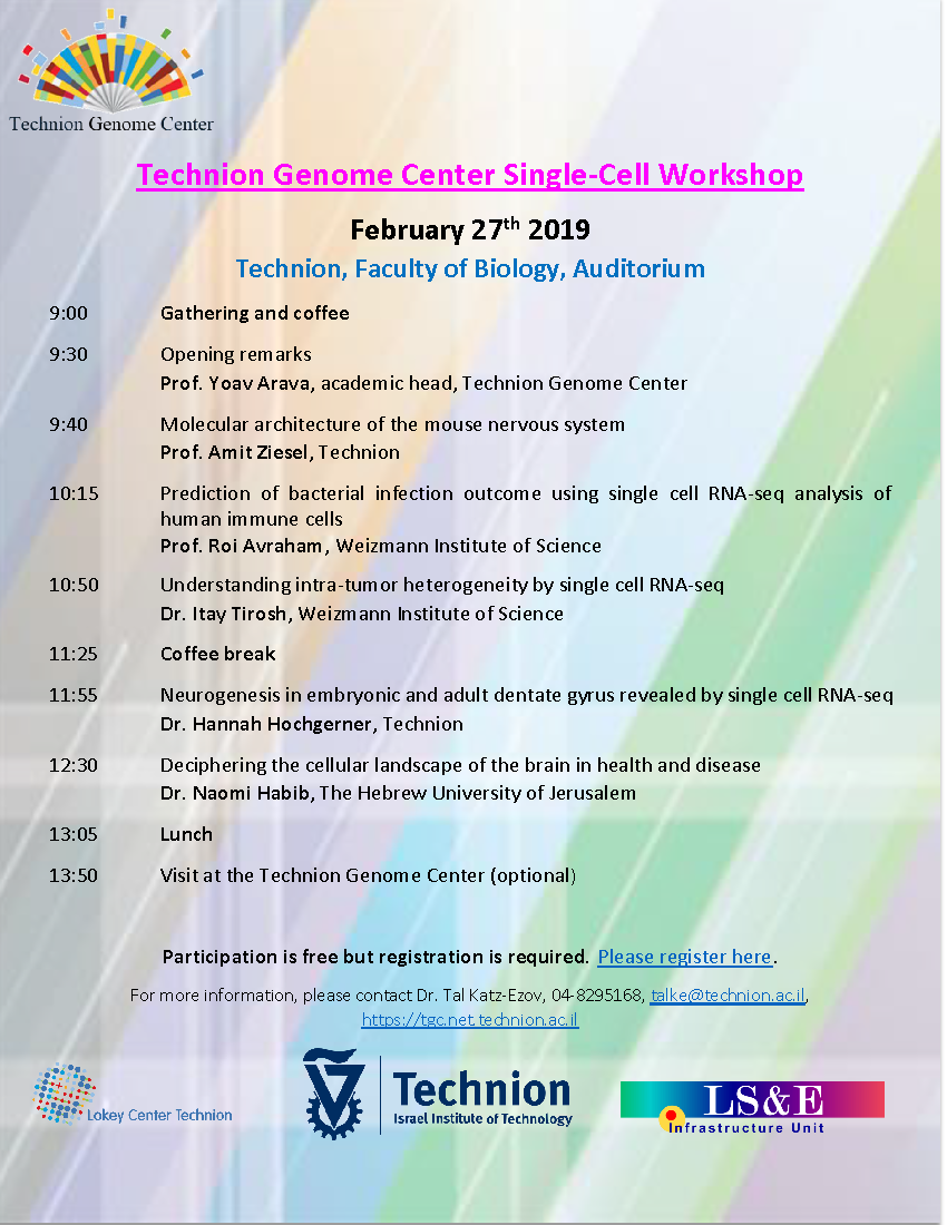 Schedule of Single Cell Workshop