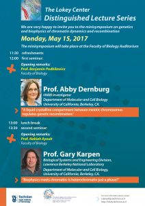 lecture poster of of Abby Dernburg and Gary Karpen